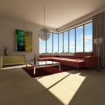 Velkoformátová dlažba v obývacím pokoji