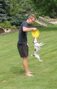 dog frisbee pretahovani
