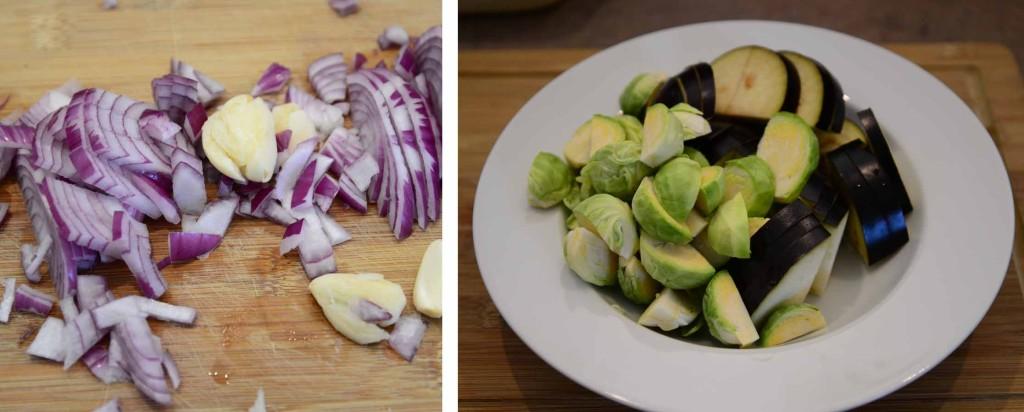 nakrajena cibule a zelenina