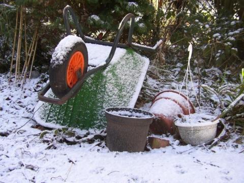 zahrada v zime naradi