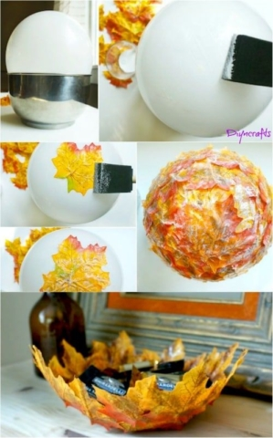 Vytvořte si stylové podzimní misky z listů. (zdroj foto: pinterest.com)